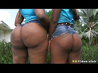 Two ebony amazing huge and fat asses