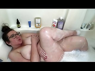 Busty BBW get Busy In her Bubble Bath Dildo Sucking and Fucking