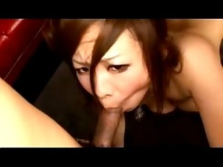 Busty asian girl on her knees sucking 2guys cock getting her pussy fucked on the mattress