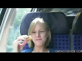 Cute blonde german amateur blowjob in train