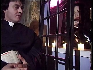 Jessica Rizzo gives a blow job to the priest in a confessional!