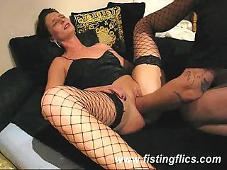 Brutally fist fucked amateur housewife