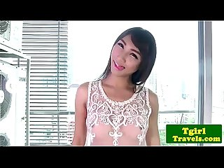 Ladyboy cartoon plays with herself