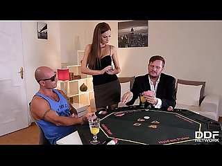 Leggy poker babe tina kay joins two studs for Xxx hardcore anal threesome