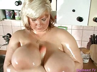 Big breasts babe squizing hard