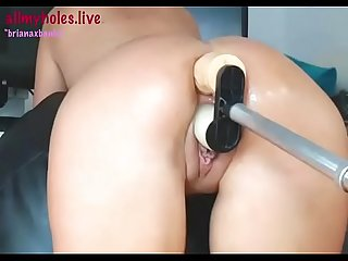 Briana banks takes a robot in the ass and then dp for allmyholes live