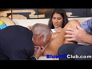 Dirty Latin Teenage Slut Fucks Very Elderly Men