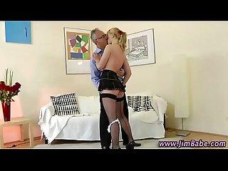 Schoolgirl stocking slut gets pounded