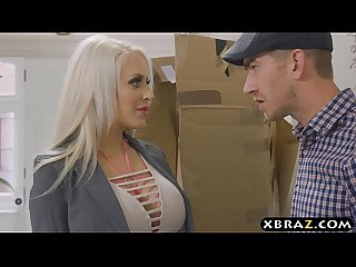 Robotic assistant babe with huge boobs fucked by her master