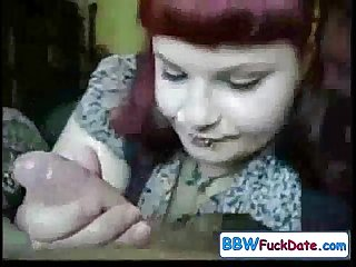 Punk fat girl sucking and face cum