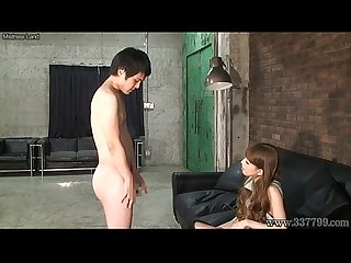 Cfnm Japanese femdom ruri like to watch a young naked man masturbates period