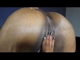 playing with her pussy and sucking hard black dick and swallows cum