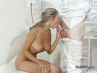 Horny tracy sucks the dirty doctors cock and gets her pussy licked