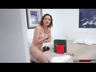 Busty milf stepmom caught a pervert stepson spying her