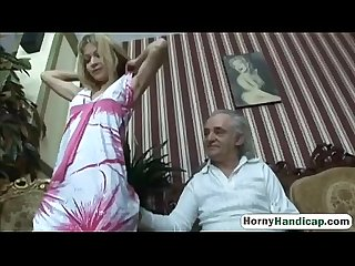 Cute blonde takes care of an older handicapped manfilth hi 3