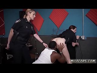Brunette interracial gangbang Raw movie grips police fucking a