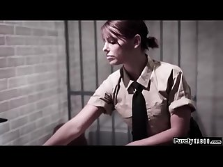 Naive teen fucked roughly in prison by female n male officer