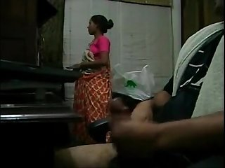 Handjob with maid around