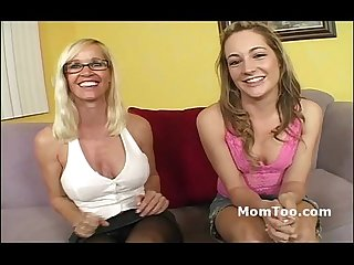 Busty mature pornstar mommy gets her daughter started in the porn business