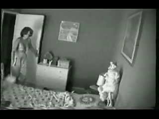 Hidden cam on the closet catches my mom have good time