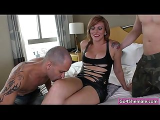 Sexy ts kananda hickman takes two cocks in ass and mouth