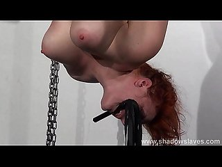 Swedish slavegirl Vicky Valkyries suspension bondage and hung spanking of redhea