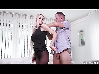 Busty lovers crave Florane Russell's sexy feet being fucked & jizzed on
