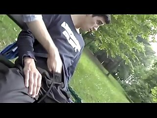 Gay amateur public handjob in a park