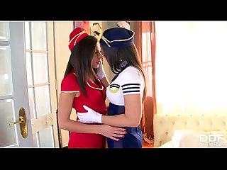 Sexy Flight Girls Eve Angel & Henessy Practice the Protocol of Sex