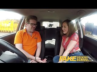 Fake driving School big tits spanish learner loves sucking and hard Fucking