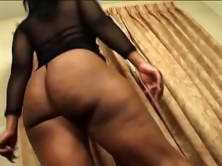 Brunette ebony milf gets her huge ass slammed hard on couch