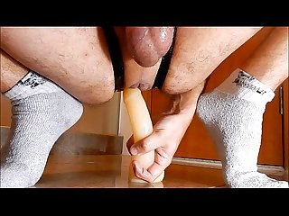 Inserting cock n balls dildo in my big hole