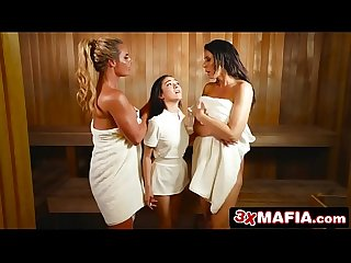 Towel Girl Kiley Jay Dominated by Horny MILFs: Phoenix Marie & Reagan Foxx