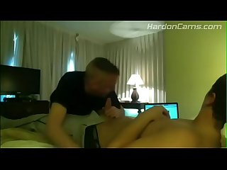 Daddy blows straight stepson and swallows cum