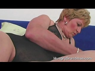 Fat horny granny fucking big dildo