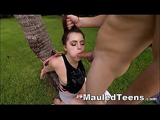 Teen tied outside throat fucked before fucking