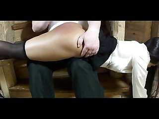 Red ass spanking home on the stairs