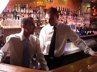 Hunks in bar have hot bareback fucking
