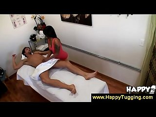 Tattooed asian masseuse asks extra money
