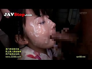 Cute japanese teen in Pigtails throat fucked and bukkake