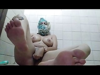 Real Amateur Arab In Hijab Mom Showing Feet And Masturbating Wet Pussy While Hiding In Bathroom