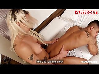 LETSDOEIT - Busty Blonde Tranny Fucked Hard By Muscular Guy