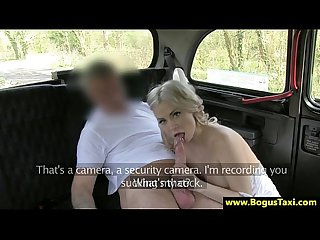 Big tit blond babe sucking on cock for her cab driver