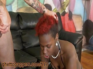 Throated ebony slut slobs on white dick
