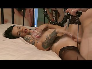 Tattooed pornstar brittany lyn spreads her legs for real huge cock