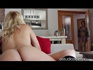 Lesbians licking pussy on the sofa