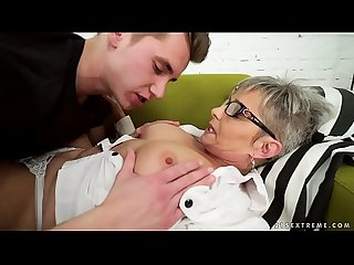 Lusty grandma vs young big cock - Jessye, Oliver