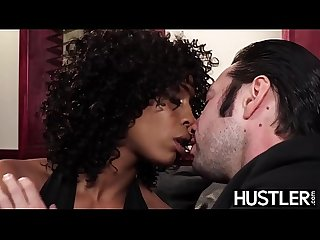 Ebony femme fatale Misty Stone fed cum after rough plow