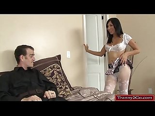 Sexy tranny Vivian Rockwell get sucked and anal rides a cock