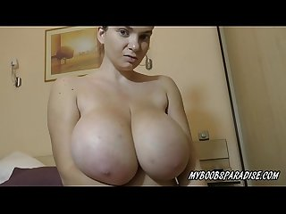 Cute Kitty huge tits bbw play with her natural boobs and bra